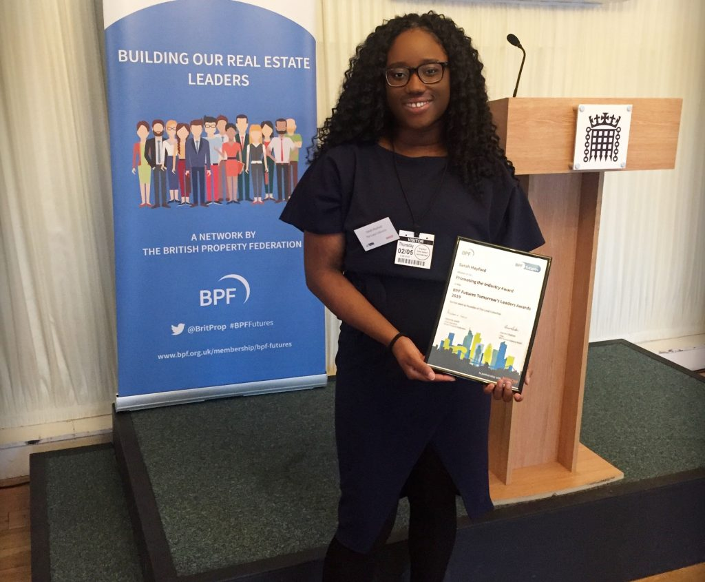Sarah Hayford at the BPF Futures Awards held at Terrace Pavillion, Houses of Parliament